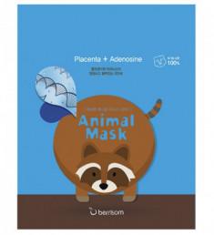 Маска тканевая с экстрактом плаценты Berrisom Animal mask series raccoon 25мл