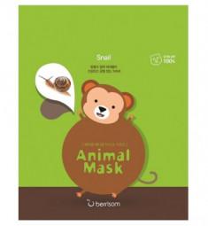 Маска тканевая с муцином улитки Berrisom Animal mask series monkey 25мл