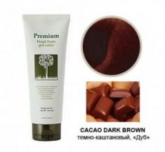 Гель-маникюр для волос Gain Cosmetic Haken Premium Pearll Pure Gel Color Cacao Dark Brown темно-коричневый 220г