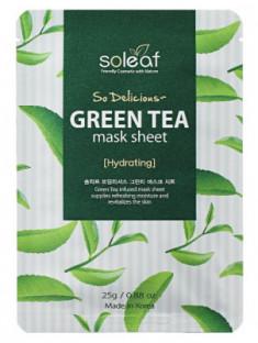 Маска тканевая освежающая с зеленым чаем Soleaf So Delicious Green Tea Mask Sheet 25 мл