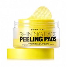 очищающие пады для лица so natural shining face peeling pads